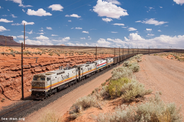 A loaded coal train from the Kayenta loading facility is arriving at the power generating station in Page. 30.5.2014
