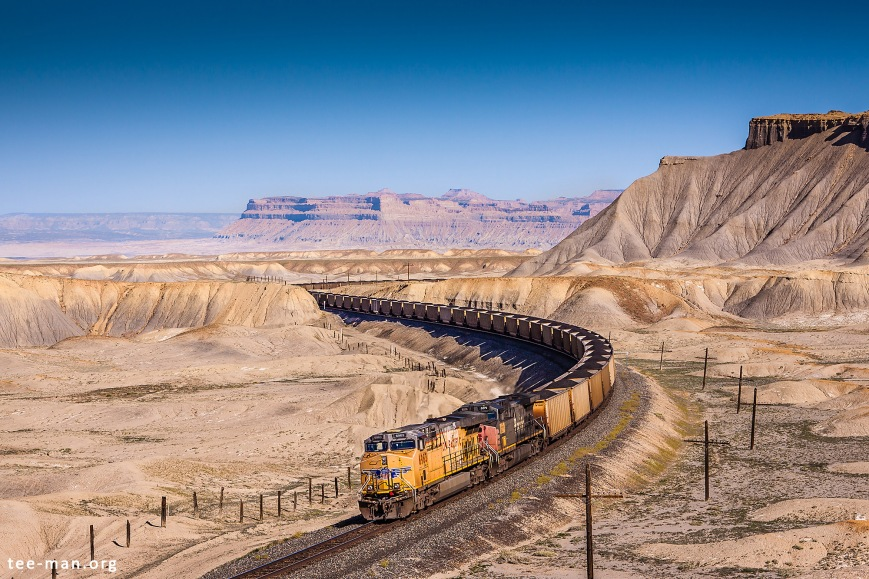 Union Pacific's 6963 is helping a coal train getting to its destination in the moon-like landscape around Green River. 1.6.2014