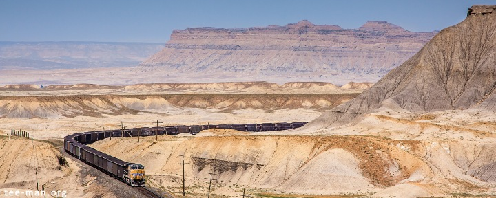 UP's 5688 pushes a coal train on the moon. Green River, 1.6.2014