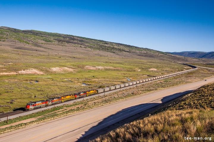 Not aware of the freezing temperature, an empty Utah Railways coal train led by UTAH 5003 passes through Colton. 2.6.2014