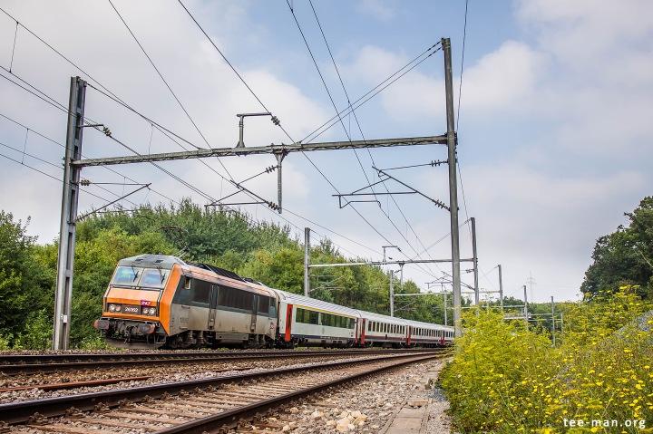 "Panic shot of Eurocity 91 ""Vauban"" bound for Basel. Fentange, 8.8.2015"