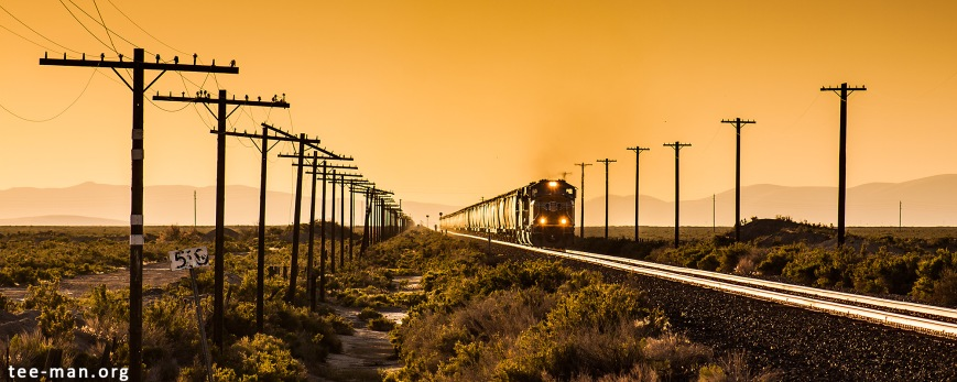 UP 4437 in the setting sun at Battle Mountain (NV). 4.6.2014