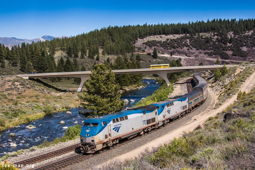 Amtrak's 170 pulls the California Zephyt over Donner Pass. Truckee (CA), 5.6.2014