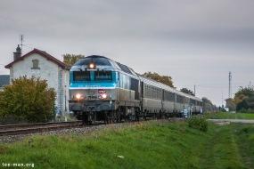 SNCF's 72189 with intercités 11742 from Culmont-Chalindrey to Paris-Est. Savières, 25.10.2015