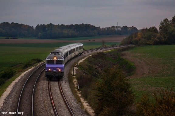 My last photo of a CC72000 in commercial service. 72145 is passing Maison-Rouge with an intercités. 25.10.2015